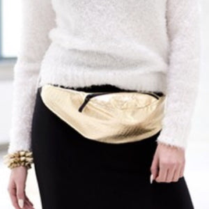 GOLD CROCODILE EMBELLISHED Faux Leather Fanny Pack