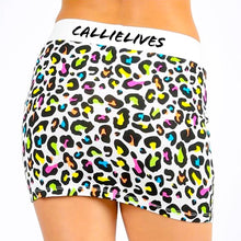 Load image into Gallery viewer, Stasia White Panther: Rainbow Animal Print Skirt - callielives