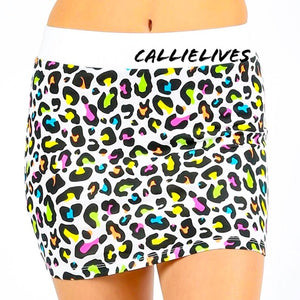 Stasia White Panther: Rainbow Animal Print Skirt - callielives