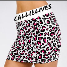 Load image into Gallery viewer, Stasia White Panther: Pink Cheetah Mini Skirt - callielives