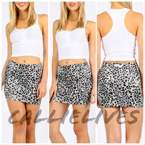 Stasia UnTamed LEOPARD: Vegan LEATHER MINI SKIRT (RED) - callielives