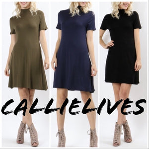 Elaine A-Line Navy: Rayon T-shirt Work Play Dress - callielives