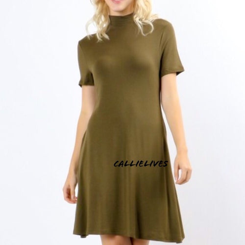 Elaine Military A-Line: Rayon T-shirt Work Dress - callielives