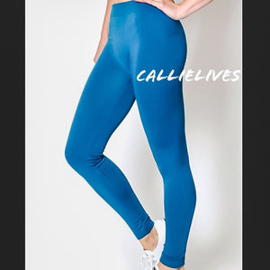 SEAMLESS Teal Blue WorkOut LEGGINGS (PLUS) - callielives