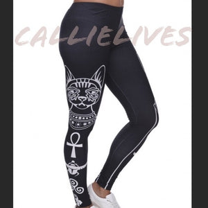 Xena Egyptian Cat: Silky Symbol Graphic leggings - callielives