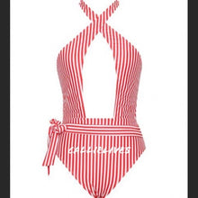 Load image into Gallery viewer, Xena Santa Criss: Red Stripe Cross Halter Swimsuit - callielives
