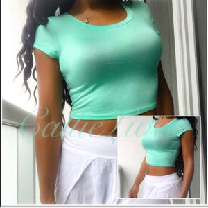 Stasia Mint To Be: Green Crop Top T-shirt Top