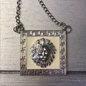 Xena White Lion: Head Leo Pendant Silver Necklace - callielives
