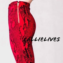 Load image into Gallery viewer, Xena Bloody Velvet: Flocked Snakeskin Skinny Pants - callielives
