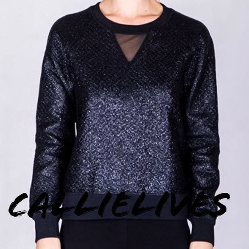 Miz Black Metallica: Pullover textured sweater - callielives