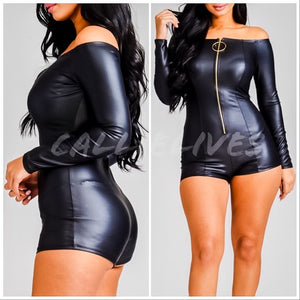 Xena Pull Up: Faux Leather Onesie Shorts Romper