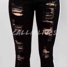 Load image into Gallery viewer, Miz Plus Ripped Twill: Torn Side Stripe Jeans - callielives