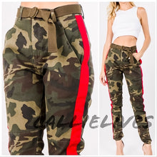 Load image into Gallery viewer, Miz Camo Boss: Red Side Stripe Jogger Pants - callielives