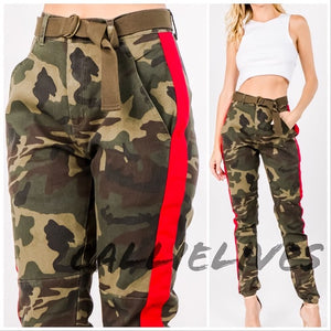 Miz Camo Boss: Red Side Stripe Jogger Pants - callielives