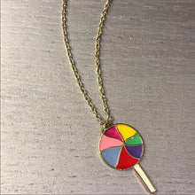 Load image into Gallery viewer, TaTa: Rainbow Lollipop Charm Pendant Gold Chain