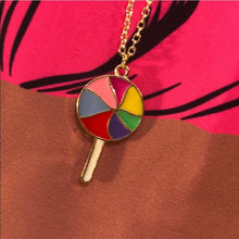 Load image into Gallery viewer, TaTa: Rainbow Lollipop Charm Pendant Gold Chain - callielives