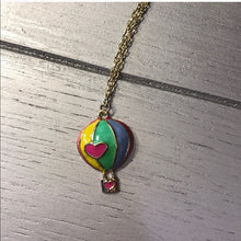 Load image into Gallery viewer, Ta-Ta Pink Heart Hot Air Balloon Charm Gold Chain