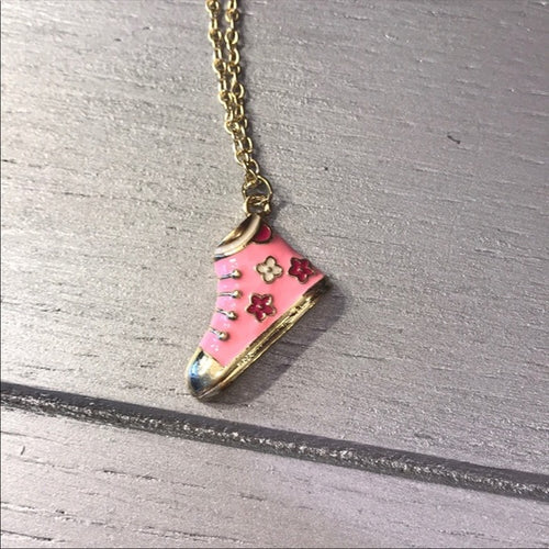 Ta-Ta Pink Flower Sneaker Gold Charm Chain - callielives