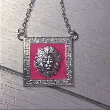 Load image into Gallery viewer, Miz Hot Pink Leo Lion Head Pendant Silver Chain - callielives