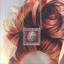 Load image into Gallery viewer, Miz Hot Pink Leo Lion Head Pendant Silver Chain