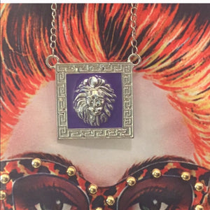 Miz: Purple Leo Lions Head Pendant Silver Chain