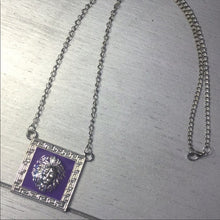 Load image into Gallery viewer, Miz: Purple Leo Lions Head Pendant Silver Chain
