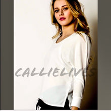 Load image into Gallery viewer, Elaine Hi Lo Semi: Ivory White Top Sheer panels - callielives