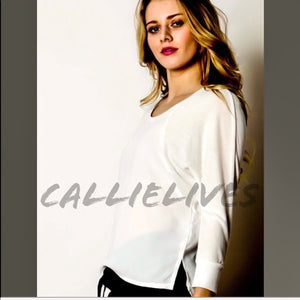 Elaine Hi Lo Semi: Ivory White Top Sheer panels - callielives
