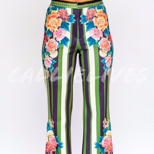 CALLIE Circus Flower: PolyScuba Flared Stripe Pants - callielives