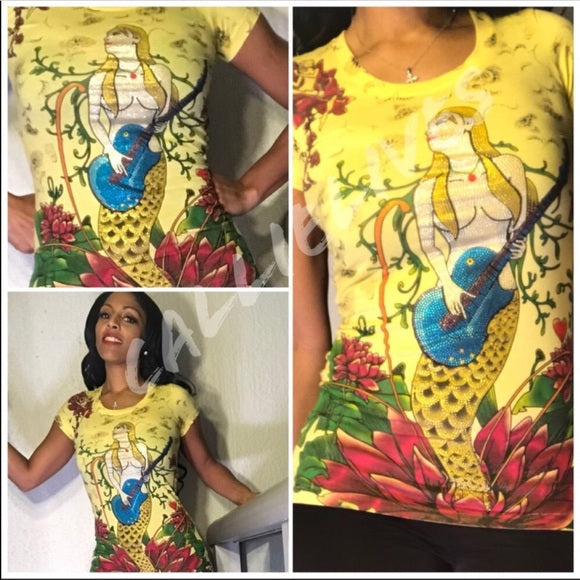 Miz Mermaid: Bling Tee Guitar Goddess T-Shirt Top - callielives