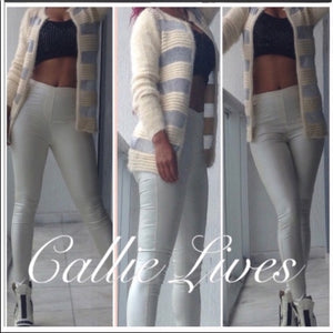 Elaine Off at 5: Furry Silver Mesh Sweater Blazer, Jackets and Blazers, CallieLives