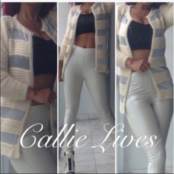 Elaine Off at 5: Furry Silver Mesh Sweater Blazer - callielives