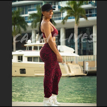 Load image into Gallery viewer, Miz Zebra Sweat: Burgundy Fleece Jogger & Bra Set - callielives