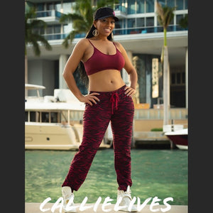Miz Zebra Sweat: Burgundy Fleece Jogger & Bra Set, Active Wear, CallieLives