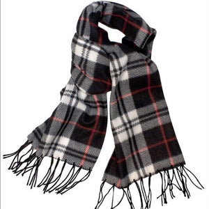 Black White & Red Plaid Muffler Fringe Scarf - callielives