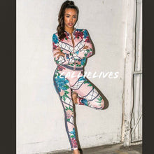 Load image into Gallery viewer, Callie Pink Magic: Geo Floral Jacket Legging Tracksuit Set, Sets, CallieLives