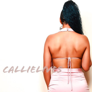 Callie Silk: Blush Pink Halter Backless Mini Dress