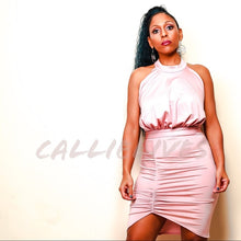 Load image into Gallery viewer, Callie Silk: Blush Pink Halter Backless Mini Dress