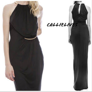 Gold Choker: Halter Dress Holiday Gown - callielives