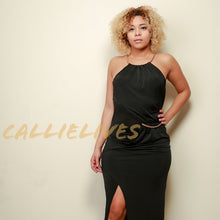 Load image into Gallery viewer, Gold Choker: Halter Dress Holiday Gown - callielives