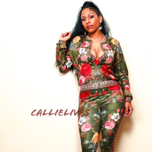 Callie Flower Posse: CAMO TRACKSUIT JACKET PANTS - callielives