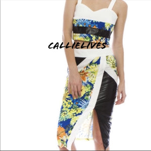 Floral Mixed Black Vinyl Skirt Set, Sets, CallieLives
