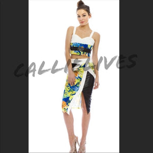 Floral Mixed Black Vinyl Skirt Set