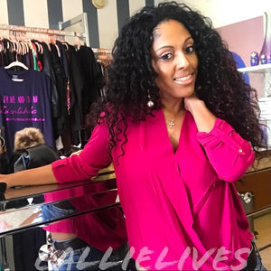 Elaine Wrap it Up: Magenta Pink Plunge Work Blouse - callielives
