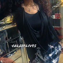 Load image into Gallery viewer, Callie Detached: 2PC top silver sequin Chain Apron