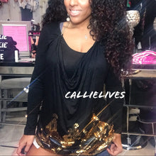 Load image into Gallery viewer, Callie Detached: 2PC top Gold sequin Chain Apron - callielives