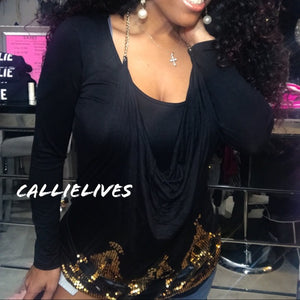 Callie Detached: 2PC top Gold sequin Chain Apron - callielives