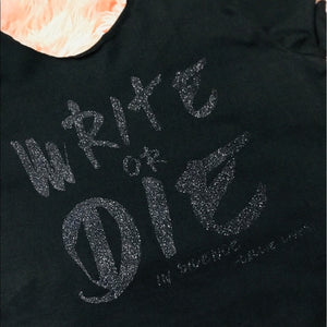 Miz Write or Die inSilence: Black Glitter T-Shirt - callielives