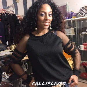Miz Mesh: Black Baseball Top Sheer Stripes - callielives