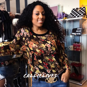 Miz Chiffon: Floral kangaroo pocket Black Top - callielives